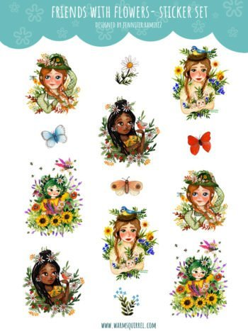 WarmSquirrel Friends With Flowers Sticker Set By Warmsquirrel Jennifer Ramirez White