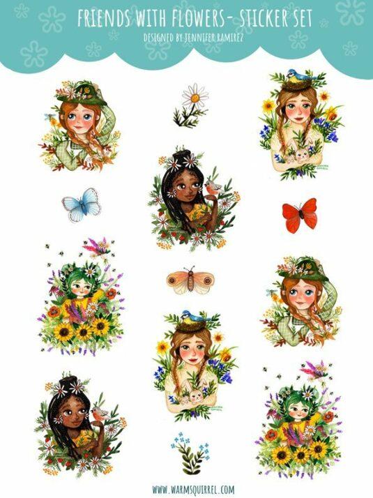 WarmSquirrel Friends With Flowers Sticker Set By Warmsquirrel Jennifer Ramirez White