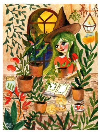 WarmSquirrel Green Magic Witch By Jennifer Ramirez Warmsquirrel