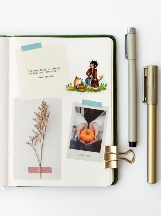 WarmSquirrel Green Notebook Autumn Harvest Sticker Set