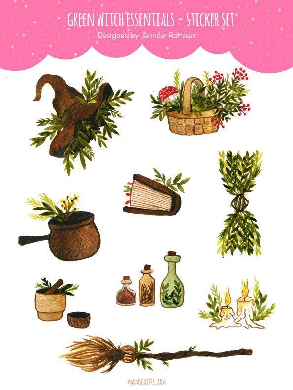 WarmSquirrel Green Witch Essentials Sticker Set By Warmsquirrel Jennifer Ramirez