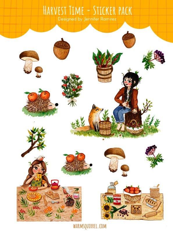 WarmSquirrel Harvest Time Sticker Set By Warmsquirrel Jennifer Ramirez