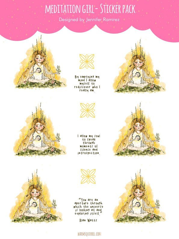 WarmSquirrel Meditation Girl Sticker Set By Warmsquirrel Jennifer Ramirez