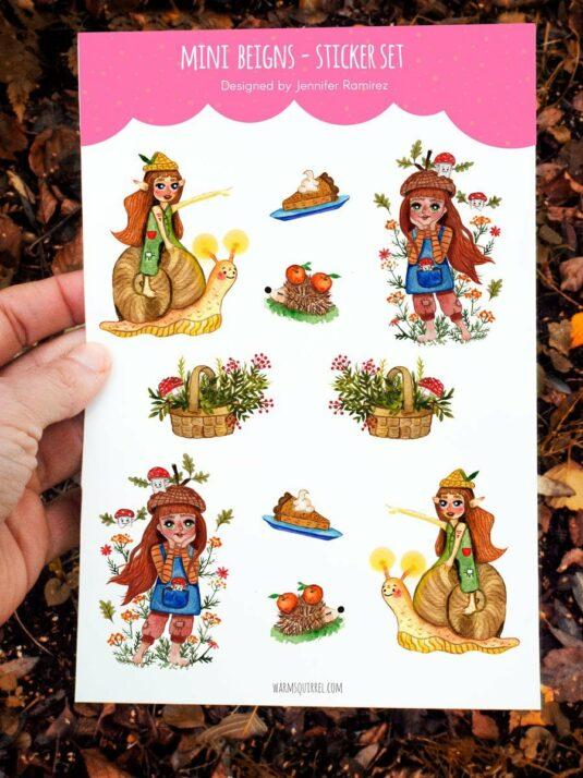 WarmSquirrel Mini Beings Sticker Set By Warmsquirrel Jennifer Ramirez A
