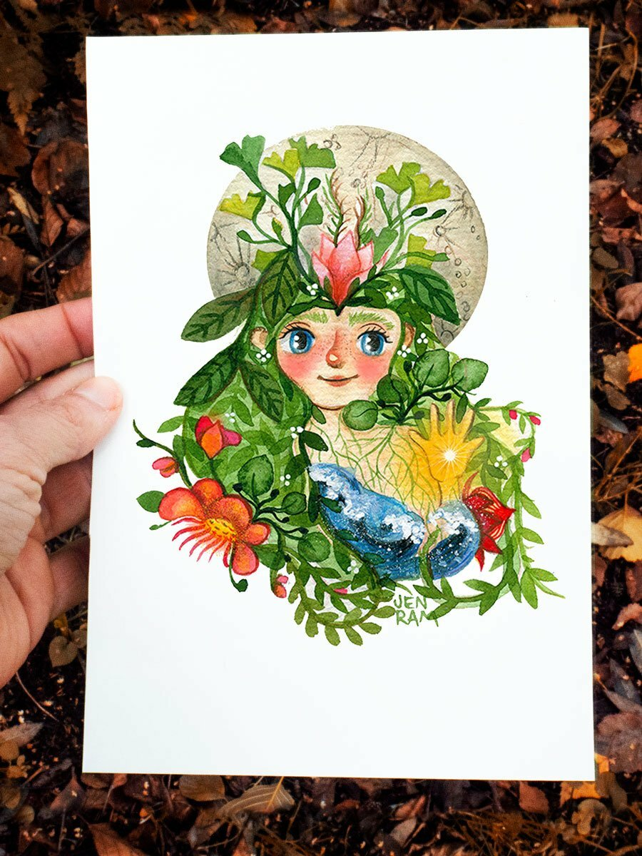 WarmSquirrel Pacha Mama Mother Earth Watercolor Print By Warmsquirrel Jennifer Ramirez White