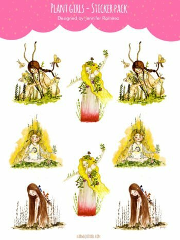 WarmSquirrel Plant Girls Sticker Set By Jennifer Ramirez Warmsquirrel
