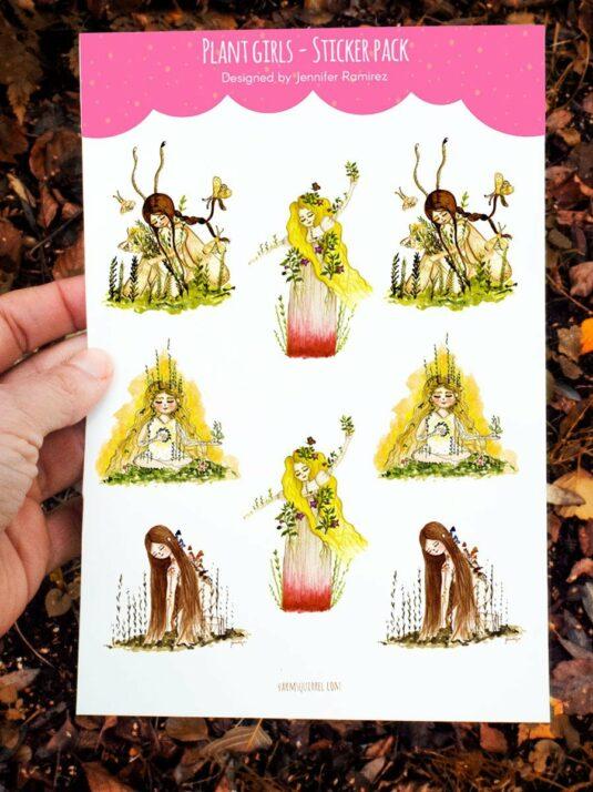 WarmSquirrel Plant Girls Sticker Set By Warmsquirrel Jennifer Ramirez A