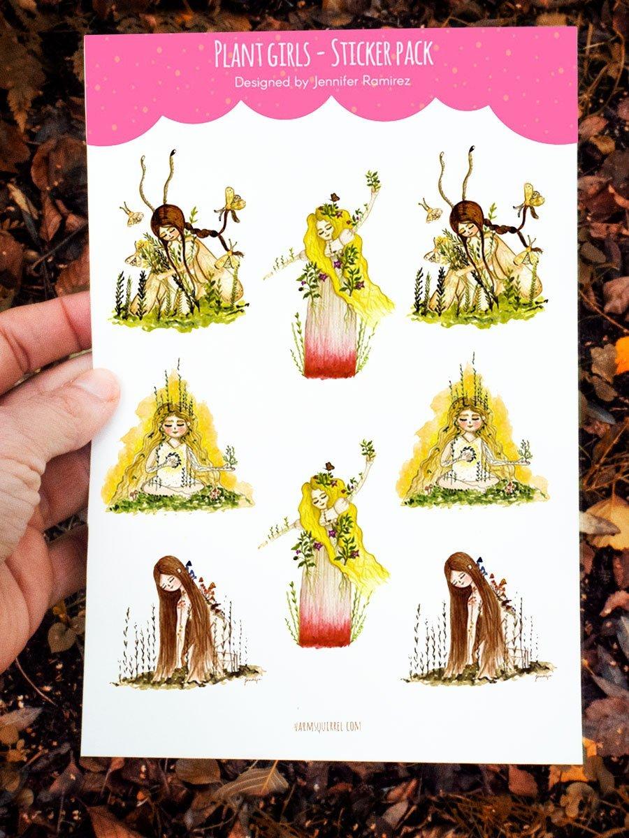 WarmSquirrel Plant Girls Sticker Set By Jennifer Ramirez Warmsquirrel