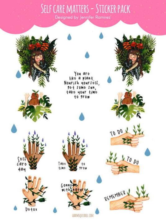WarmSquirrel Self Care Matters Sticker Set By Jennifer Ramirez Warmsquirrel