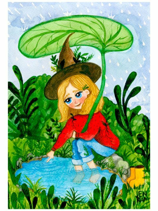 Cute Witch In The Rain Watercolor Print By Warmsquirrel Jennifer Ramirez