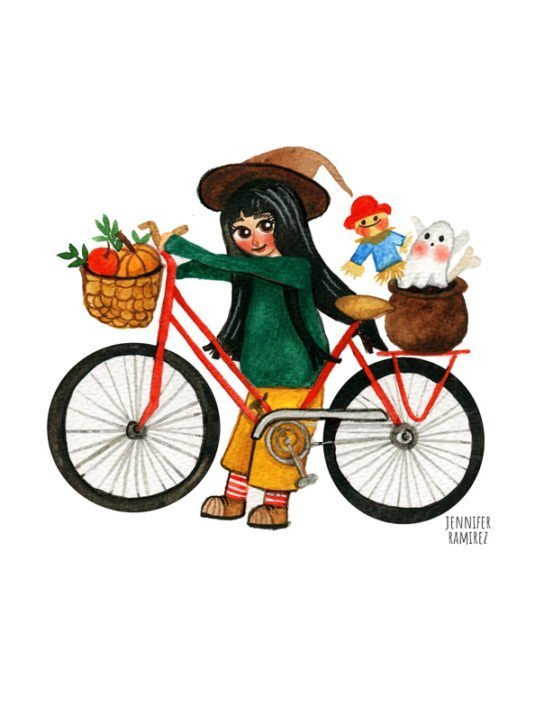 Cute Witch Riding A Bike By Jennifer Ramirez Warmsquirrel