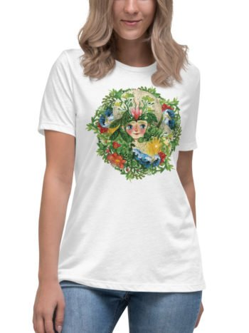 Front image of woman wearing the pachamama print women relaxed tshirt