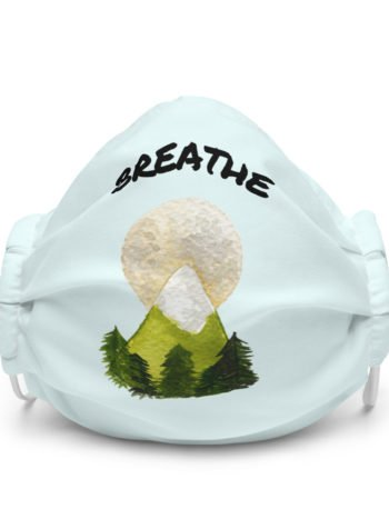 Reusable facemask with mountain and the text breathe