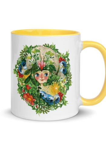 Ceramic coffee mug with yellow handle and prganic green print