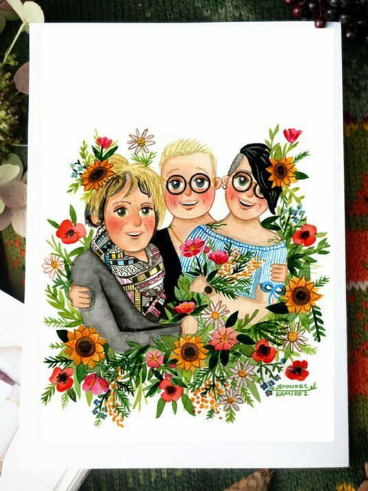 WarmSquirrel Custom Family Portrait Painting From Photo Jennifer Ramirez