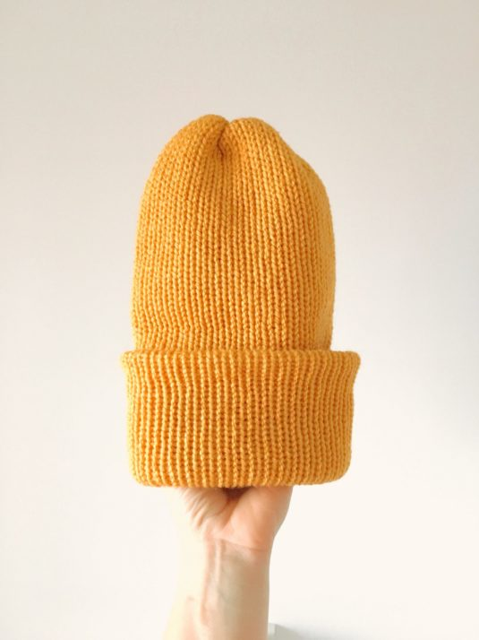 Mustard Colored Brimmed Beanie by WarmSquirrel