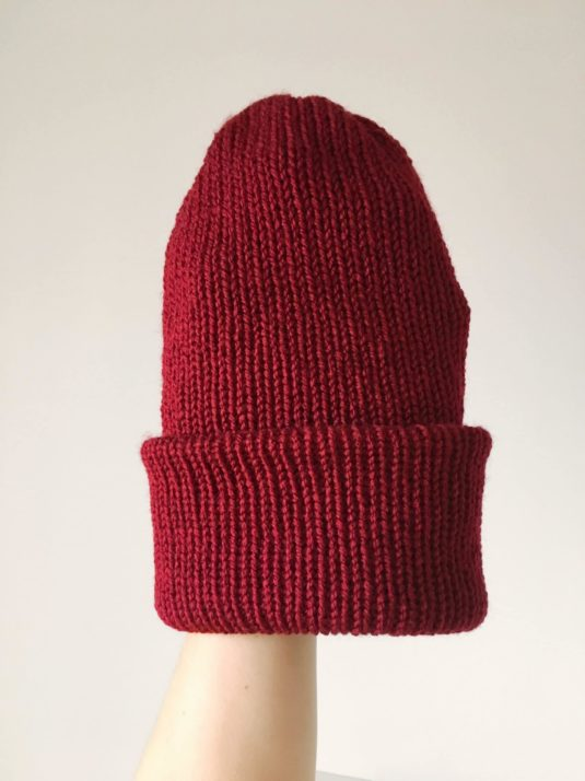Wine Red colored brimmed Beanie by WarmSquirrel