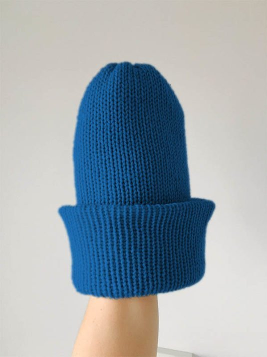 Turquoise brimmed beanie by WarmSquirrel