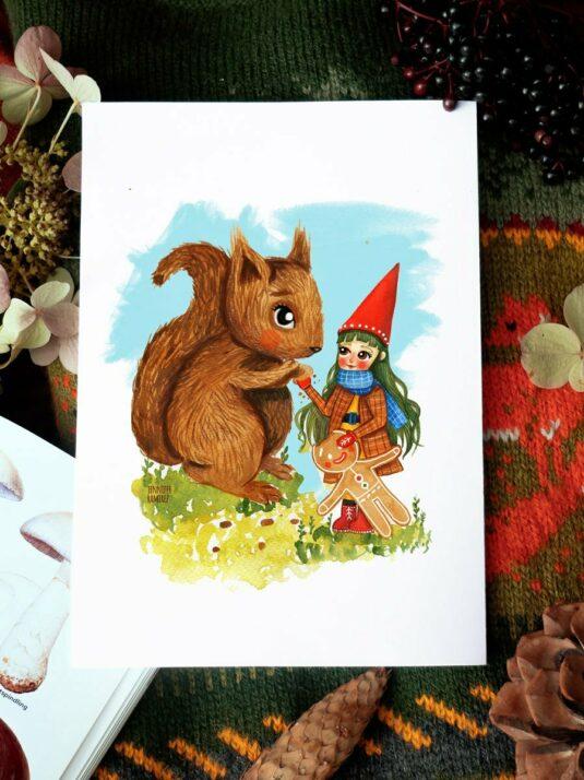 WarmSquirrel Christmas Postcard Gnome Squirrel By Jennifer Ramirez Warmsquirrel