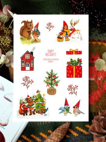 WarmSquirrel Happy Holidays Sticker Set By Warmsquirrel Jennifer Ramirez