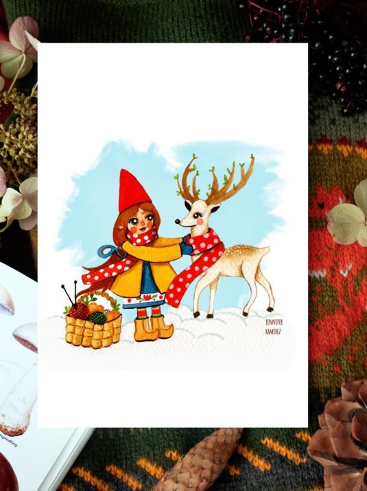 WarmSquirrel Yule Gnome And Deer