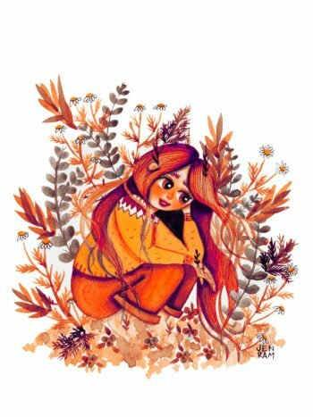 WarmSquirrel Green Witch Plant Girl Watercolor Art Print In Pink Tones By Warmsquirrel Jennifer Ramirez